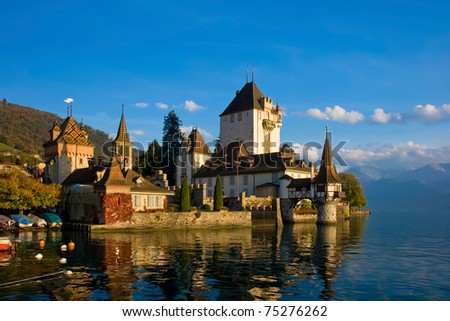 Famous and beautiful castle Oberhofen in Switzerland on the lake Thun