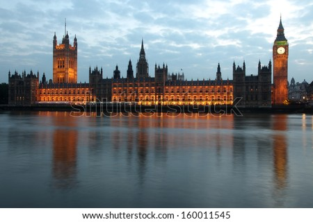 Famous and Beautiful view to Big Ben and Houses of Parliament, London, UK