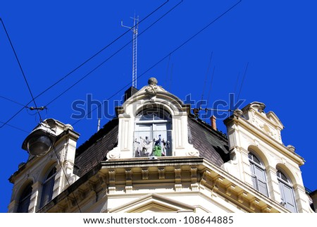 Famous and nice 19th - century historic European building of downtown Buenos Aires, Argentina., South America - stock photo