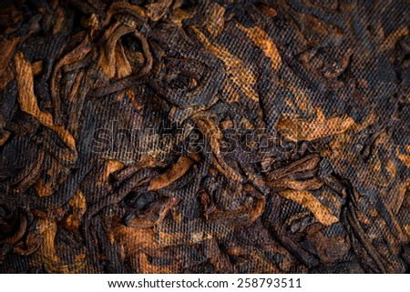 famous and useful pressed ripe Puer tea in Chinese cake closeup - stock photo
