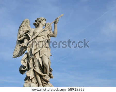 Famous Angel with the lance. Ponte Sant'Angelo, Aelian Bridge, Pons Aelius. Rome. Italy. More of this motif & more Rome in my port. - stock photo