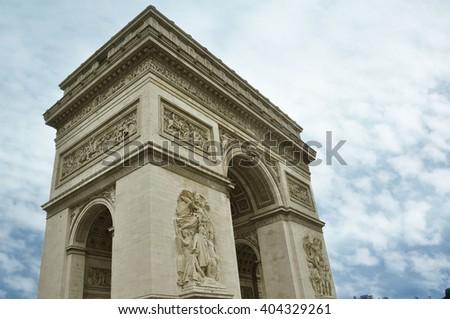 Famous Arc de Triomphe in Paris city  - stock photo