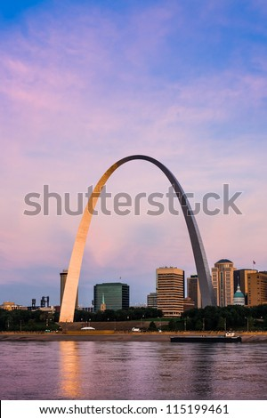 Famous architectural landmark The Arch in St. Louis.