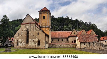 famous architecture of Cerveny klastor (Red Cloister) in Slovakia. - stock photo