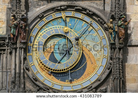 Famous Astronomical dial (1410), at Prague astronomical clock, with the Latin OCCASVS (west), ORTUS (east), AVRORA (dawn) and CPEPVSCVLVM (twilight)  - stock photo