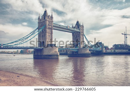 Famous Attractive Architectural London Tower Bridge Crossing River Thames - stock photo