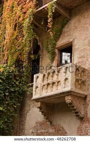 Famous balcony on the house in Verona claiming to be Juliet's - stock photo