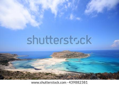 Famous Balos lagoon on Greece island Crete - stock photo