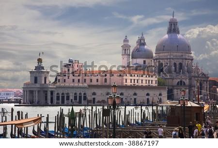 Famous Basilica di Santa Maria della Salute and wonderful evening view, Venice, Italy - stock photo