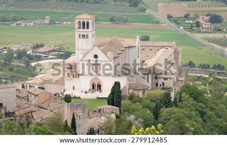 Famous Basilica of St. Francis of Assisi, Unesco heritage, Umbria Italy