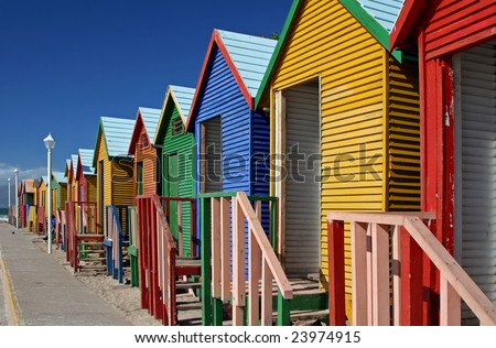 Famous bathing cabins in St. James, South Africa - stock photo