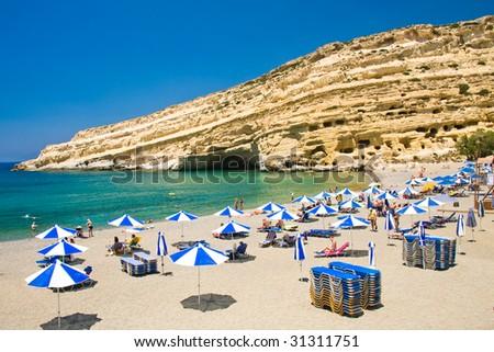 Famous Beach Matala, Greece Crete - stock photo