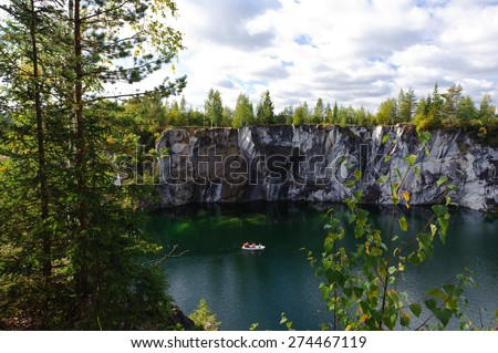 Famous beautiful marble quarry Ruskeala - stock photo