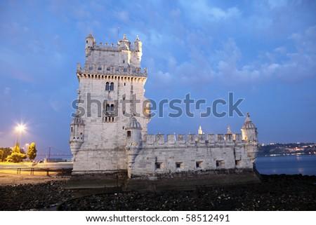 Famous Belem Tower at dusk, Lisbon Portugal - stock photo