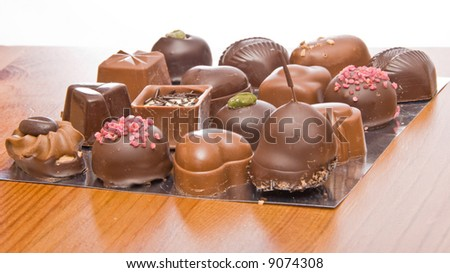 Famous Belgian chocolate candies.  Close-up.