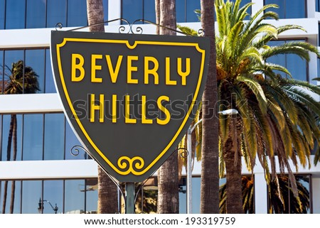 Famous Beverly Hills sign in Los Angeles - stock photo