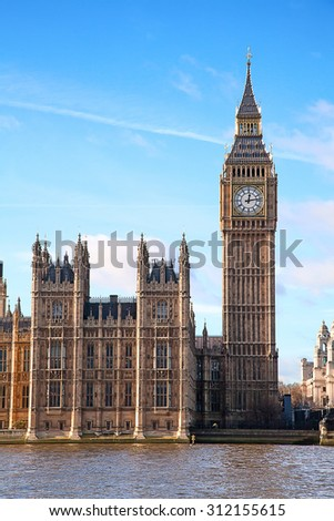 Famous Big Ben clock tower in London, UK. - stock photo