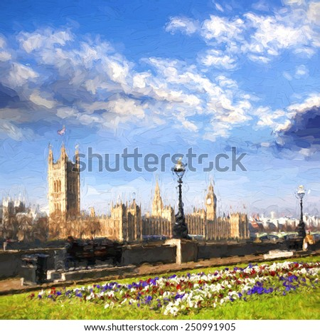 Famous Big Ben in London, England, United Kingdom, ARTWORK STYLE - stock photo