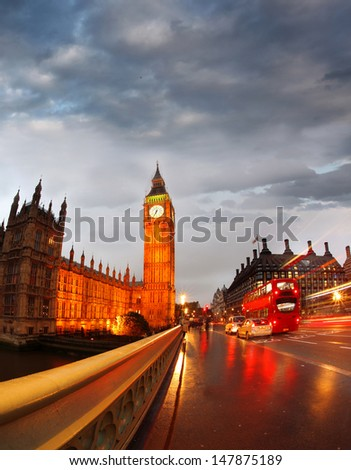 Famous Big Ben in the evening with bridge, London, England - stock photo