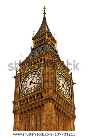 famous Big Ben in Westminster, London (isolated on white background) - stock photo