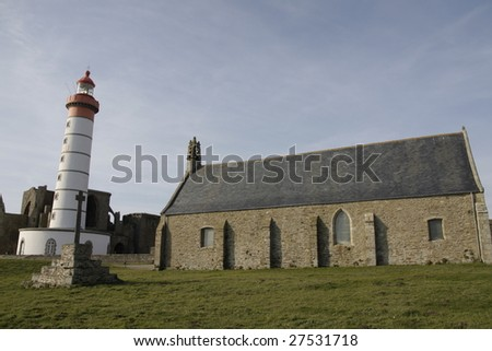 famous big lighthouse in brittany