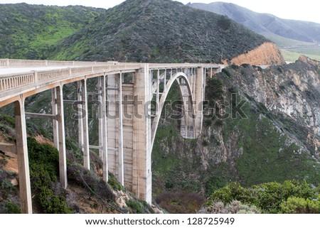 Famous Bixby Bridge in Big Sur, California. - stock photo