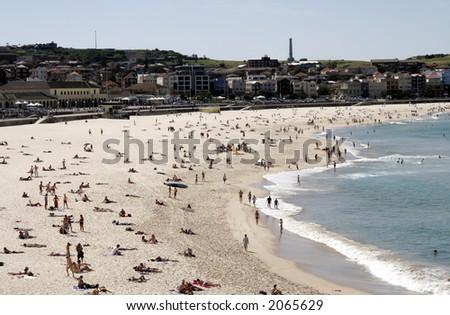 Famous Bondi Beach, Busy On A Summer Day, Sydney, Australia - stock photo