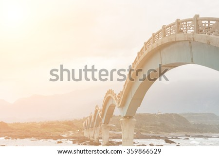 Famous bridge at Sanxianta in Chenggong Township, Taitung County, Taiwan, Asia. - stock photo