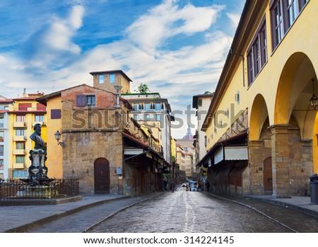 famous bridge Ponte Vecchio street, Florence, Italy - stock photo