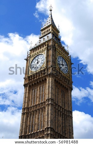 "Famous British clock tower ""Big Ben"" against the blue sky - stock photo"