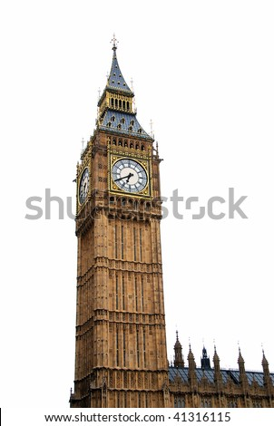 "Famous British clock tower ""Big Ben"" isolated on white - stock photo"