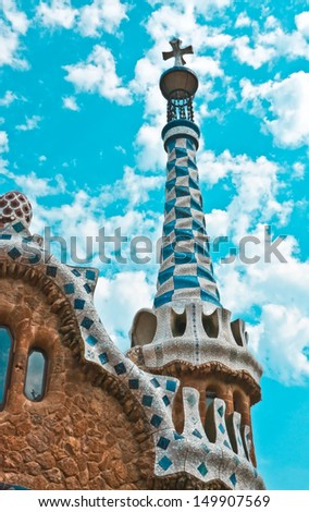 Famous building by Antonio Gaudi in Park Guell, Barcelona. - stock photo