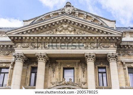 Famous building of Stock Exchange (Bourse de Bruxelles, Beurs van Brussel). Building was erected from 1868 to 1873 in the Neo-Renaissance style. Brussels, Belgium. - stock photo