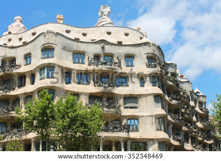 Famous building was designed by Antoni Gaudi and is one of the most visited in the city. - stock photo