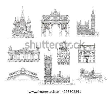 Famous buildings, sketch collection, St. Vasil cathedral in Moscow, Triumph Arch in Paris, Big Ben in London, Notre Dame in Paris, Venice, Palace gate etc - stock photo