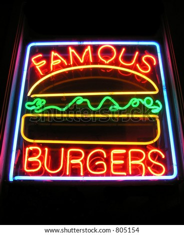 Famous Burgers sign at a drive-in restaurant - stock photo