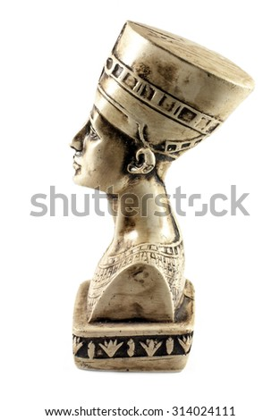 Famous bust of Queen Nefertiti isolated on white - stock photo