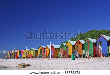 Famous cabanas in St. James, South Africa - stock photo