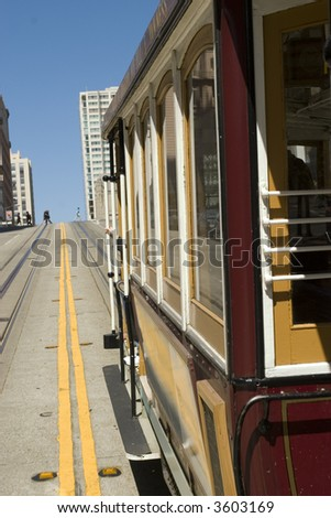 Famous Cable Car in San Francisco California - stock photo
