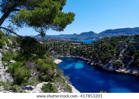 Famous Calanques between Cassis and Marseilles, South France - stock photo