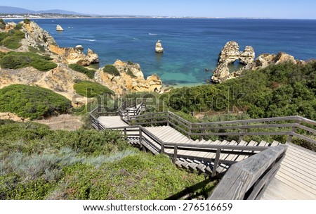 Famous Camilo Beach in Lagos, Algarve. Portugal - stock photo
