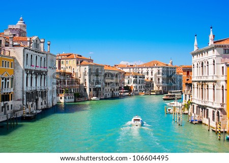 Famous Canal Grande in Venice, Italy as seen from Ponte dell'Accademia - stock photo