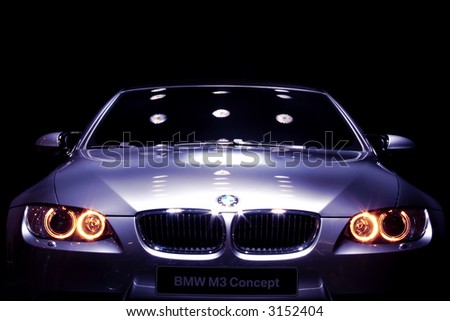 Famous Car on Display with Black Background - stock photo