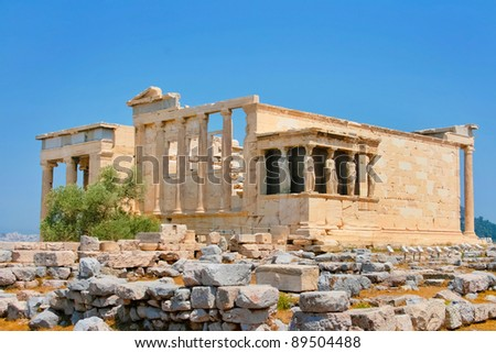 Famous Caryatids in Erechtheum in Acropolis of Athens, Greece
