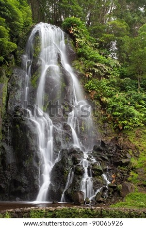 Famous cascade at Sao Miguel Island - stock photo