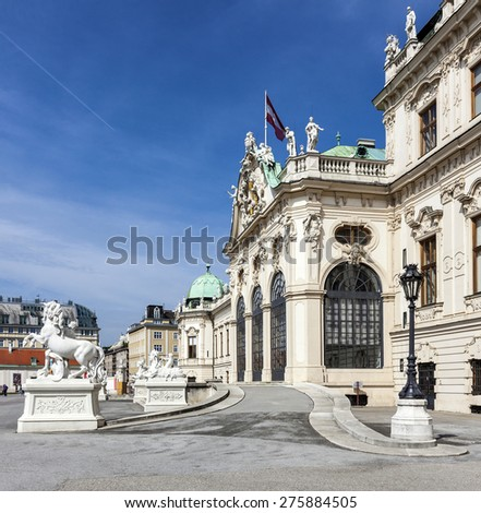 Famous Castle Belvedere, built by Johann Lukas von Hildebrandt as a summer residence for Prince Eugene of Savoy, in Vienna, Austria - stock photo