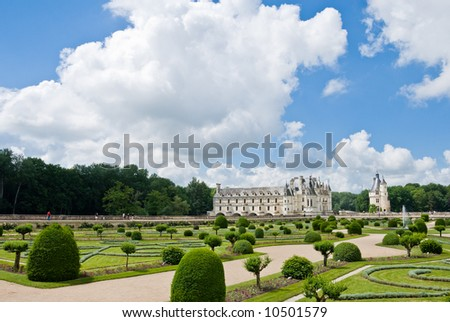Famous castle Chenonceau, view from the garden. Loire Valley, France.