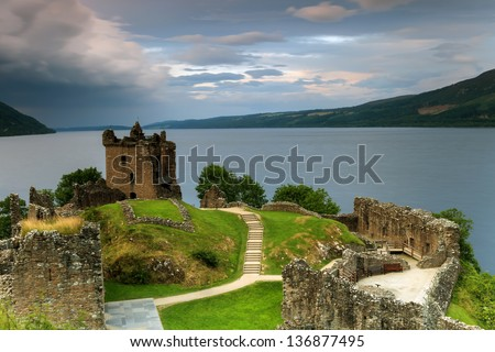 Famous castle of Loch Ness  - stock photo