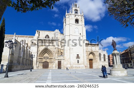 Famous Cathedral of Palencia, The Beautiful Unknown, Palencia, Spain - stock photo