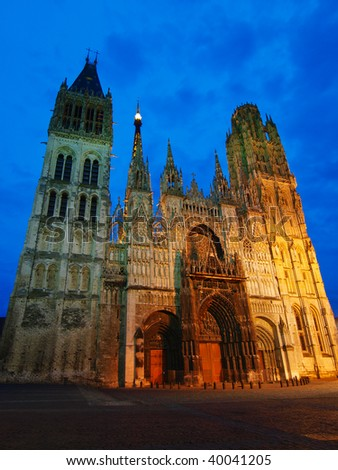 Famous cathedral of Rouen at evening